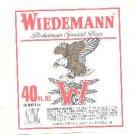 WIEDEMANN Bohemian Special Beer Label / 40oz