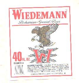 WIEDEMANN Bohemian Special Beer Label / 40oz
