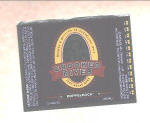 CROOKED RIVER Dopplebock Beer Label / 12oz