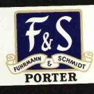 F & S  Porter Beer Label / 12oz.