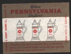 PENNSYLVANIA Deluxe Beer Label / 12oz.