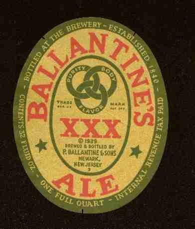 BALLANTINES XXX ALE 1935 IRTP / 32oz