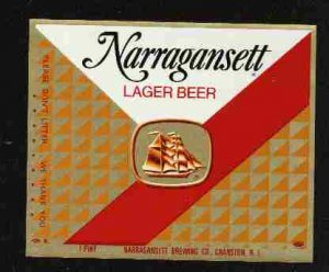 NARRAGANSETT Lager Beer Label /16oz.