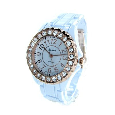 Geneva Platinum White/Rose Gold Ceramic-Style Women's Watch with Crystals GP6945