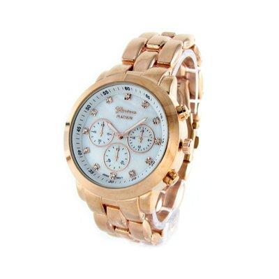 Geneva Platinum Rose Gold-Tone Mother-of-Pearl Oversized Watch GP9198