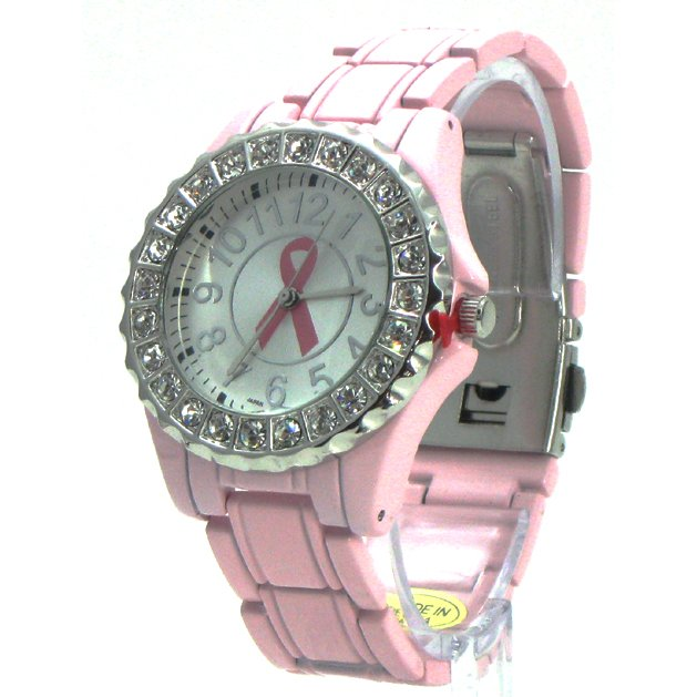 Breast Cancer Awareness Ceramic-Style Watch w/ Crystals