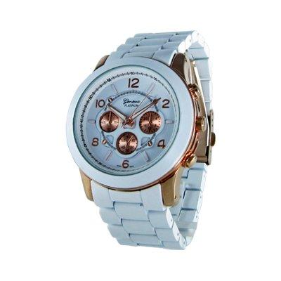 Geneva Platinum White/Rose Gold Oversized Ceramic-Style Watch GP9158