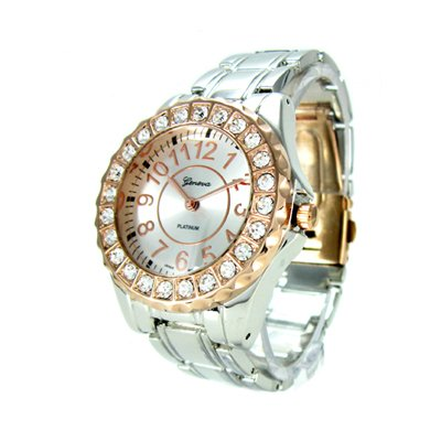 Geneva Platinum Silver/Rose Gold Ceramic-Style Women's Watch with Crystals GP6945