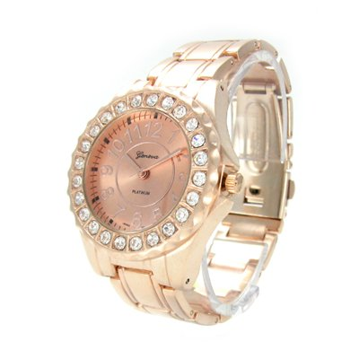 Geneva Platinum Rose Gold Ceramic-Style Women's Watch w/ Crystals GP6945