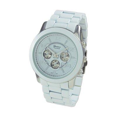 Geneva Platinum White Oversized Ceramic-Style Watch GP9158