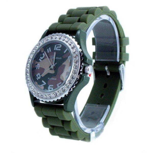 Geneva Platinum Camo Dial Silicone Jelly Watch GP6886