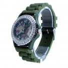 Geneva Platinum Camo Dial Silicone Jelly Watch GP6886
