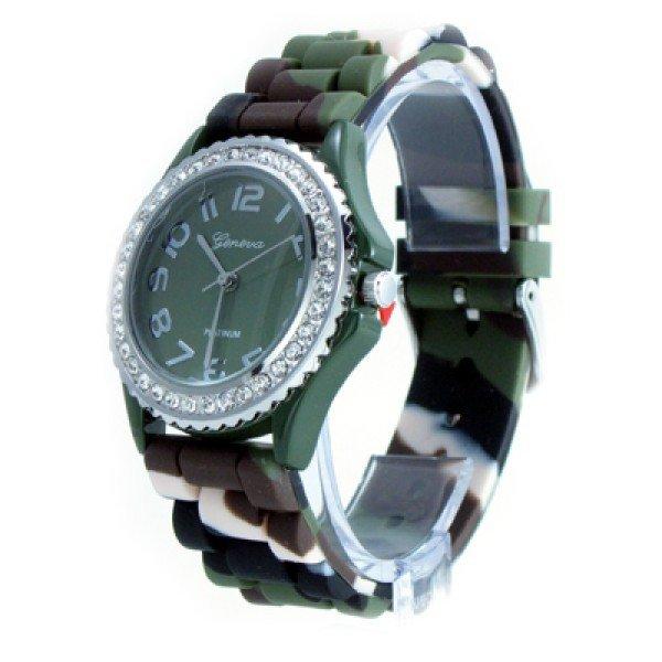 Geneva Platinum Camo Strap Silicone Jelly Watch GP6886