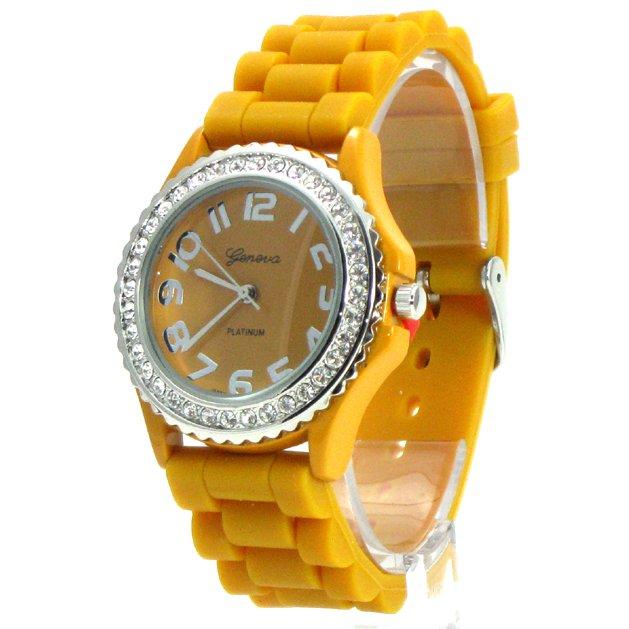 Geneva Platinum Mustard Silicone Jelly Watch GP6886