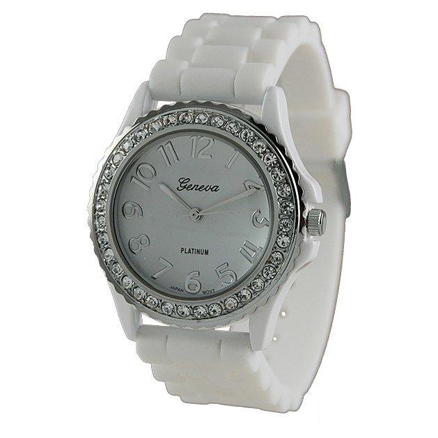 Geneva Platinum White Silicone Jelly Watch GP6886