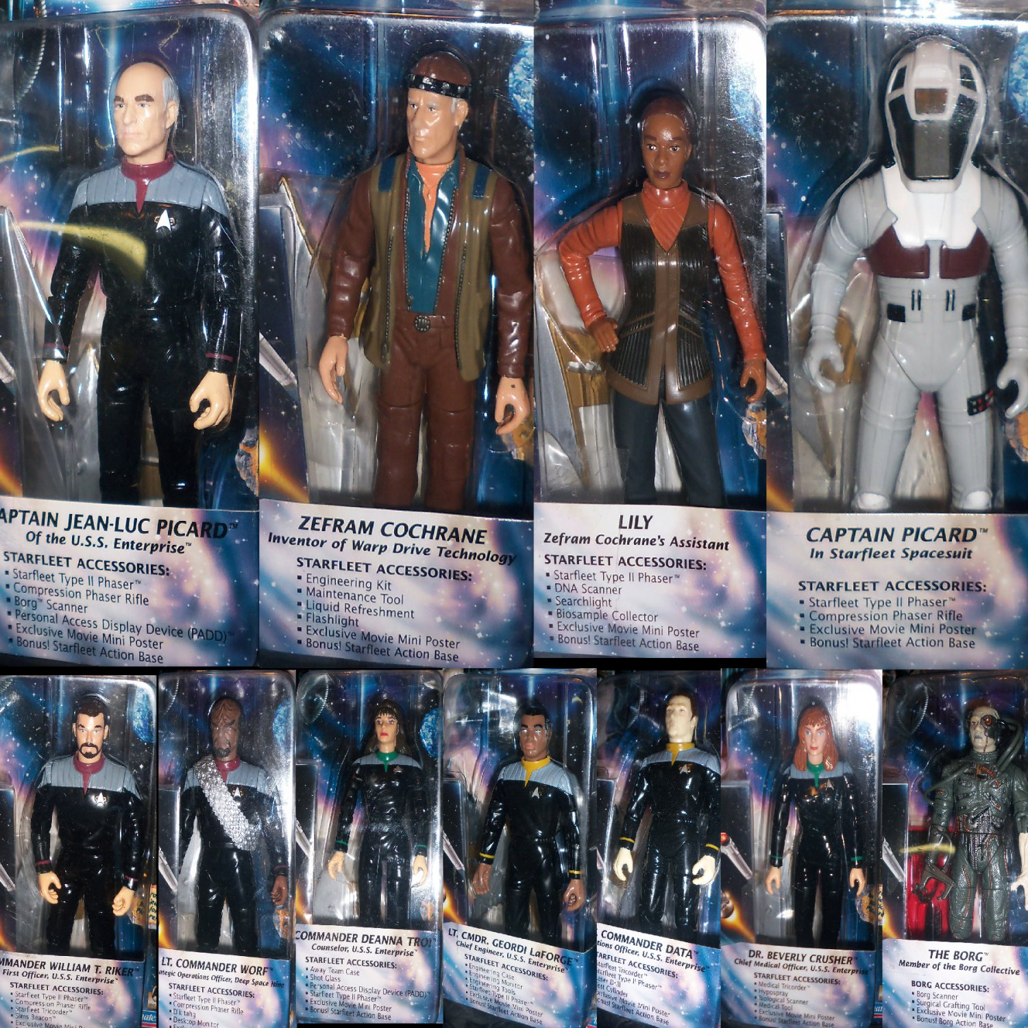 Star Trek TNG First Contact Movie Action Figures Complete Set All 11 in Boxes