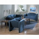 Reception and Guest Seating Upholstered Loveseat, Solid Blue /- 1 Each