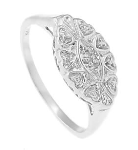STERLING SILVER FILIGREE DESIGN PRINCESS PROMISE RING