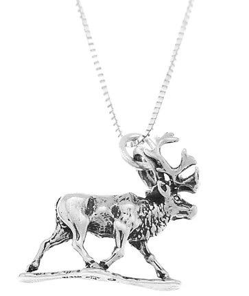 STERLING SILVER WALKING MOOSE / ELK CHARM WITH 18 inch BOX CHAIN NECKLACE
