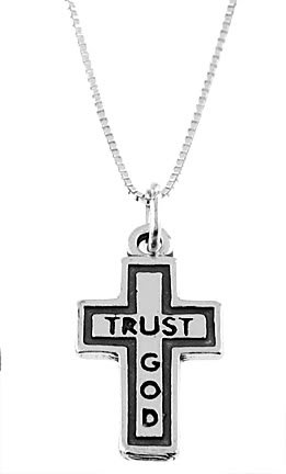 "STERLING SILVER TRUST GOD CROSS & SS 16"" BOX CHAIN"