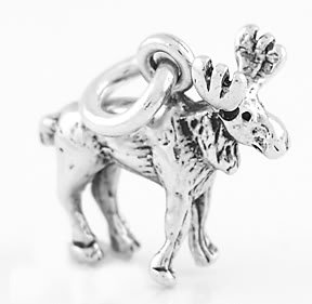 STERLING SILVER SMALL MOOSE CHARM/PENDANT