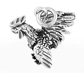 STERLING SILVER GAMECOCK ROOSTER 3D CHARM/PENDANT