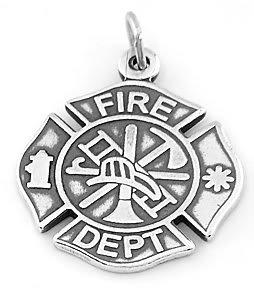 STERLING SILVER FIRE DEPARTMENT MALTESE CROSS CHARM/PENDANT