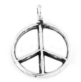 STERLING SILVER PEACE SIGN SYMBOL CHARM/PENDANT