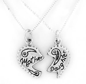 STERLING SILVER MOTHER DAUGHTER SPLIT CHARM & 2 SILVER 18 INCH BOX CHAIN NECKLACES