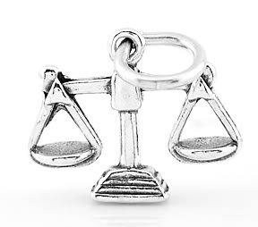 STERLING SILVER LAW SCALES OF JUSTICE 3D CHARM/PENDANT