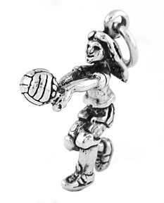 STERLING SILVER FEMALE VOLLEYBALL PLAYER CHARM/PENDANT