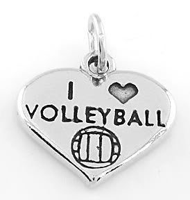 STERLING SILVER I LOVE VOLLEYBALL HEART CHARM/PENDANT