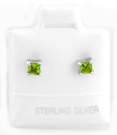 STERLING SILVER AUGUST BIRTHSTONE CZ CHILD POST EARRINGS 3mm