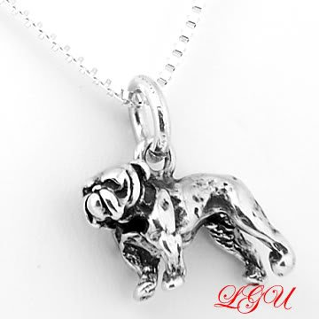 STERLING SILVER BULLDOG BULL DOG 3D CHARM with 16 INCH NECKLACE