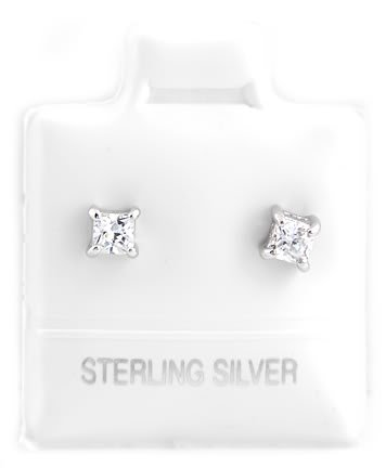 STERLING SILVER APRIL BIRTHSTONE CZ CHILD POST EARRINGS 3mm