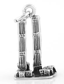 STERLING SILVER 3D TWIN TOWERS WORLD TRADE CENTER CHARM