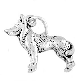 STERLING SILVER HUSKY DOG / SLED DOG CHARM/PENDANT