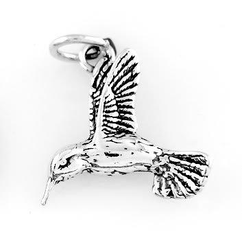 STERLING SILVER FLYING HUMMINGBIRD CHARM/PENDANT