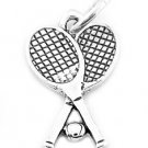 STERLING SILVER TENNIS RACKETS WITH BALL CHARM/PENDANT
