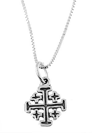 "STERLING SILVER SMALL CROSS & 16"" SILVER BOX CHAIN"