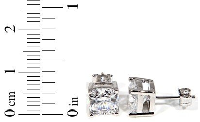 STERLING SILVER  CZ CUSHION CUT STUD EARRINGS 7MM3