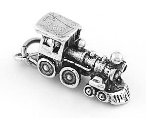STERLING SILVER 3D LOCOMOTIVE TRAIN ENGINE CHARM