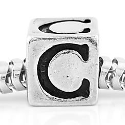 STERLING SILVER CUBE INITIAL C CUBE EUROPEAN BEAD