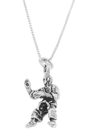 STERLING SILVER MARTIAL ARTS INSTRUCTOR CHARM WITH 16 INCH BOX CHAIN NECKLACE