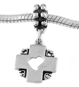 STERLING SILVER DANGLING CROSS HEART EUROPEAN BEAD