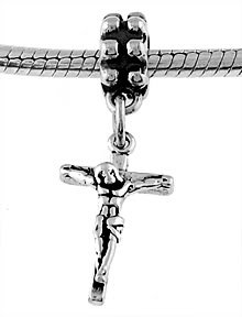 STERLING SILVER DANGLING JESUS CRUCIFIX EUROPEAN BEAD