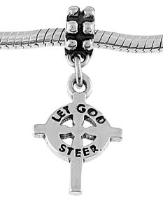 STERLING SILVER DANGLING LET GOD STEER CROSS EUROPEAN BEAD