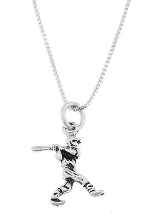 STERLING SILVER BASEBALL PLAYER BATTING CHARM WITH 16 inch BOX CHAIN NECKLACE