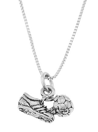 """STERLING SILVER SOCCER CLEAT WITH SOCCER BALL CHARM WITH 16"""" BOX CHAIN NECKLACE"""