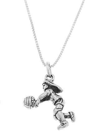STERLING SILVER VOLLEYBALL PLAYER SERVING CHARM WITH 16 inch BOX CHAIN NECKLACE